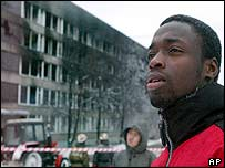 African student in Russia (image from November 2003, after a blaze at a Moscow student hostel)