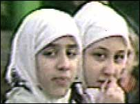 French Muslim girls wearing the controversial scarves