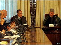 Members of UN delegation with Hamid Karzai
