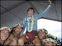 Raphaela Le Gouvello arrives in Tahiti