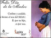 Afiche de la campa�a contra el SIDA en Argentina