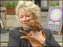 Christine Grahame holding a puppy