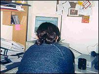 Niza at her computer