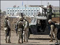 US troops outside Baghdad hotel