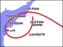 Map of Concorde 216's final route to Bristol