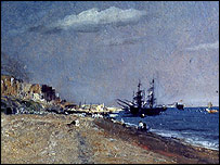 Detail from Brighton Beach with Colliers by John Constable