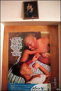 Aids awareness poster on the door of a chapel, Gaborone, Botswana