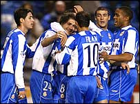 Deportivo Coruna celebrate their opening goal