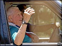 General Pinochet near his home on Tuesday
