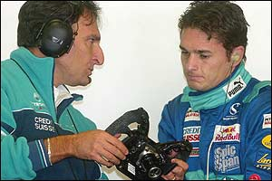 Giancarlo Fisichella (right) had his first taste of the Sauber team