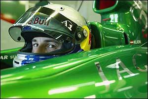 Christian Klien in the Jaguar pit