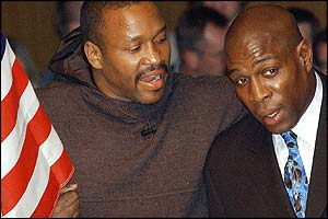 Former US opponent (left) Tim Witherspoon was among those wishing Bruno well at an emotional  return to the ring, where Bruno has always felt at his most comfortable