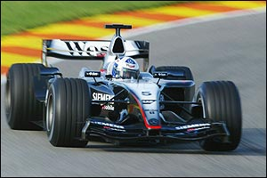 David Coulthard at the wheels of the new McLaren-Mercedes MP4-19
