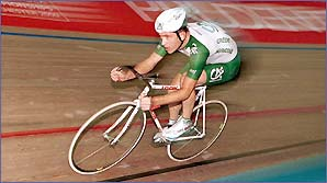 Chris Boardman competes at the World Track Championships