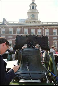 Chris Townsend monitors the Liberty Bell as it is moved to a new home in the city