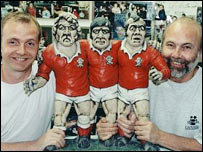 Richard and John Hughes with Groggs of the Pontypool front row