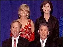 Neil Bush with his ex-wife Sharon (in red) and George W and Laura Bush in a 1999 family portrait