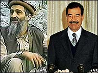 Osama Bin Laden [left] and Saddam Hussein [right]