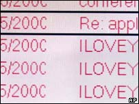 Screenshot of ILoveYou virus, AP