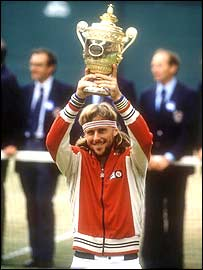 Bjorn Borg lifts the trophy for a record fifth time