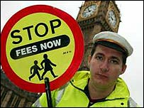 Anti-fees protester