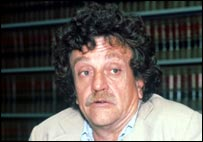 Kurt Vonnegut in library