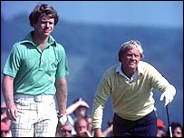 Tom Watson and Jack Nicklaus head for the back nine in 1977