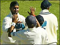 Harbhajan Singh takes a wicket