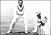 Clyde Walcott keeping wicket