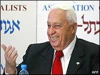 Israeli Prime Minister Ariel Sharon speaks to the Israeli media in Tel Aviv