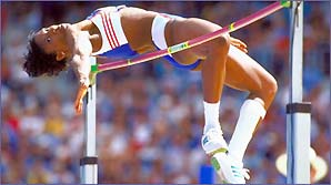 Denise Lewis competes in the heptathlon in Sydney