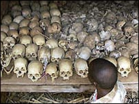 Some skulls of Rwandans massacred in the 1994 genocide