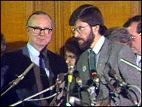 Gerry Fitt after losing his seat to Gerry Adams