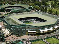 An aerial view of Wimbledon's Centre Court and Court One