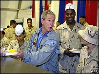 George W Bush with troops in Iraq
