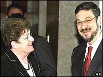 The IMF's Anne Krueger and Brazil's Finance Minister Palocci