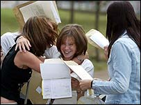 Girls getting their GCSE results