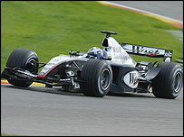 David Coulthard on his way to fastest time at Valencia in the new McLaren MP4-19