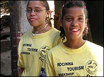 Natalia (14, left) and Ana Carolina (12, right), who work as guides