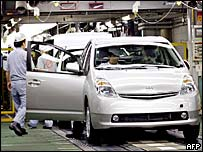 A Toyota Prius car rolls off the production line
