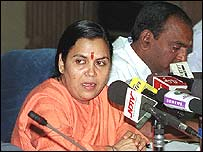 BJP leader Uma Bharti addresses press conference