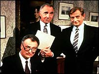 Derek Fowlds, Nigel Hawthorne and Paul Eddington in the original show