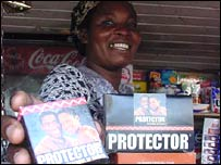 Ugandan vendor selling condoms
