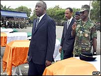 President Laurent Gbagbo, at a ceremony for those killed during the war