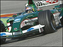 Christian Klien at the wheel of a Jaguar in Valencia