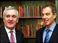 Taoiseach Bertie Ahern and Prime Minister Tony Blair in Wales