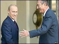 Vladimir Putin and Jacques Chirac at Elysee Palace
