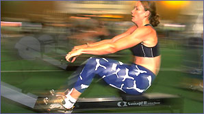 A rower on a rowing machine