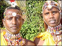 Samburu Masai warrior, Mathew Laigwanani, 24, and  Kaseti Lesengei, 31
