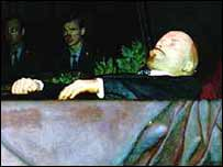Lenin's embalmed body in the mausoleum on the Red Square